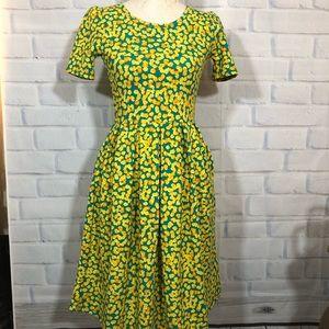 Lularoe Yellow/Green Amelia Dress
